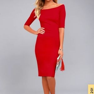 Lulu's off the shoulder red dress. Size S